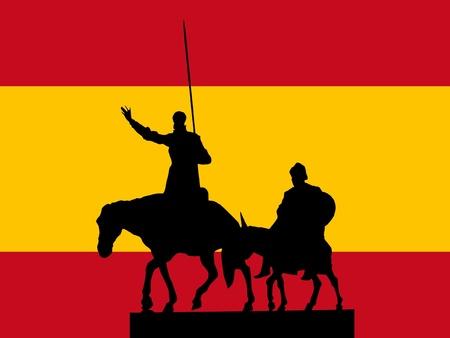 don quichotte: silhouette de Madrid sur fond de drapeau