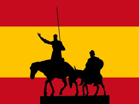 rueful: silhouette of Madrid on flag background