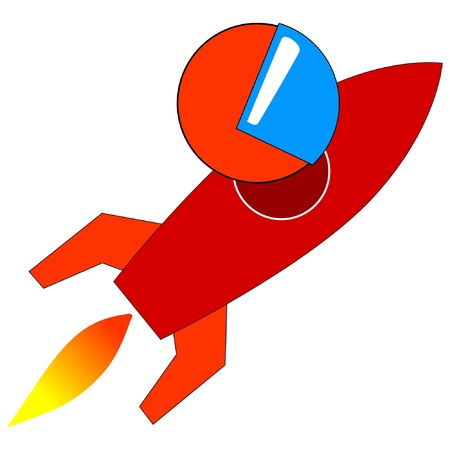 Stylized vector illustration with rocket Vector