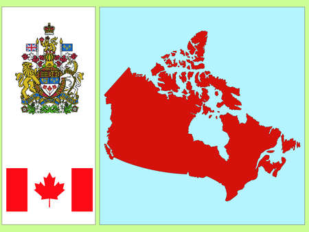 map of canada: national attributes of Canada Illustration