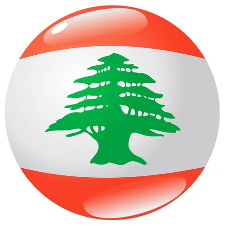 button in colours of Lebanon Vector
