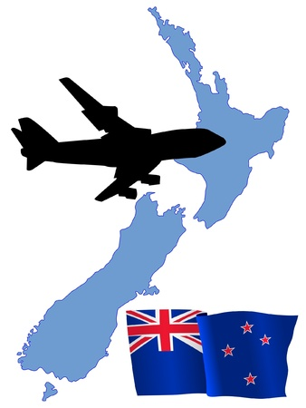 fly me to the New Zealand Stock Vector - 11751846