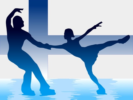couple of figure skating on background of flag of Finland Vector