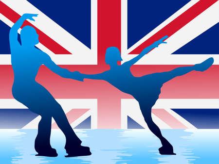 couple of figure skating on background of flag of UK