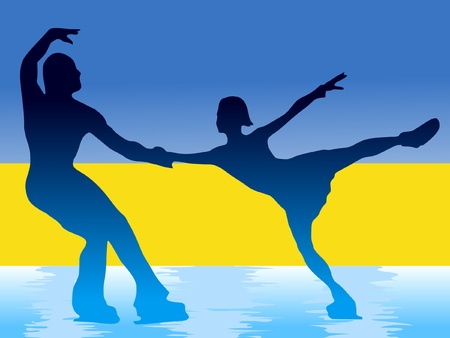 couple of figure skating on background of flag of Ukraine Vector
