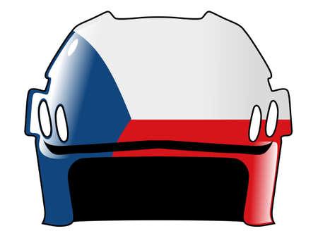 acolchado: hockey casco con los colores de la Rep�blica Checa Vectores
