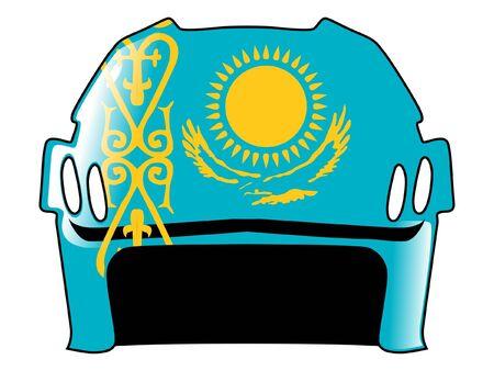 padding: hockey helmet in colors of Kazakhstan Illustration