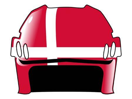 acolchado: hockey casco en colores de Dinamarca