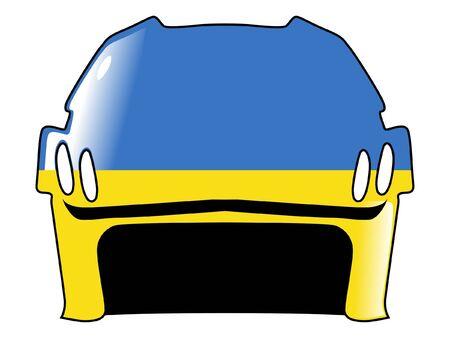 acolchado: hockey casco con los colores de Ucrania Vectores