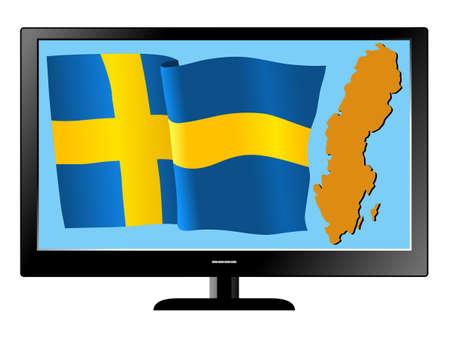 Sweden on TV Stock Vector - 11751453