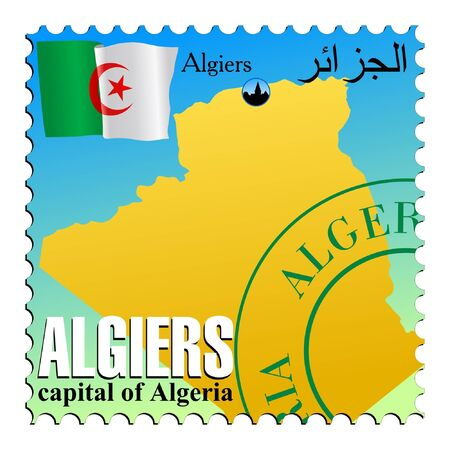 mailer: Algiers - capital of the Algeria. Vector stamp Illustration