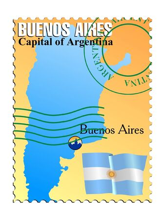 Buenos Aires - capital of the Argentina. Vector stamp Vector