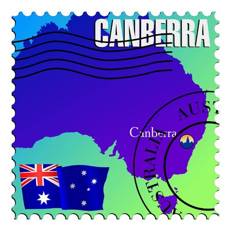 mailer: Canberra - capital of the Australia. Vector stamp