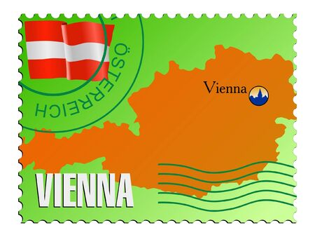 mailer: Vienna - capital of the Austria. Vector stamp Illustration