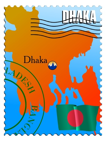 Dhaka - capital of the Bangladesh. Vector stamp Vector