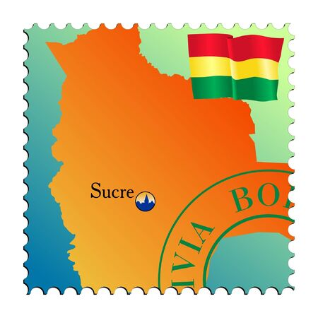mailer: Sucre - capital of the Bolivia. Vector stamp