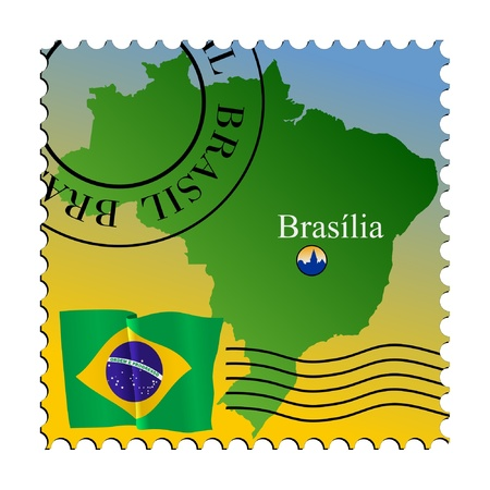 brasilia: Brasilia - capital of the Brazil. Vector stamp Illustration