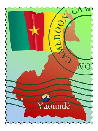 mailer: Yaounde - capital of the Cameroon. Vector stamp Illustration