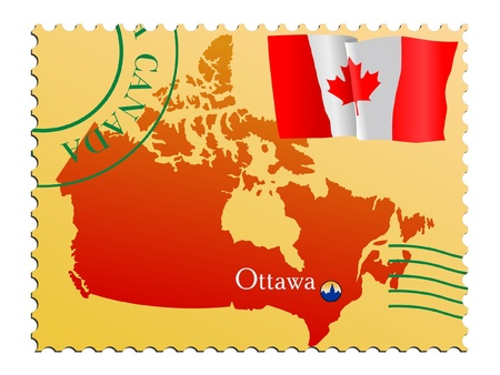 canada stamp: Ottawa - capital of Canada. Vector stamp