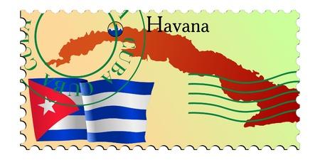 havana: Havana - capital of Cuba. Vector stamp