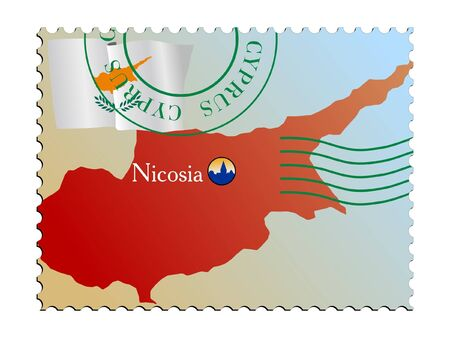 cyprus: Nicosia - capital of Cyprus. Vector stamp Illustration