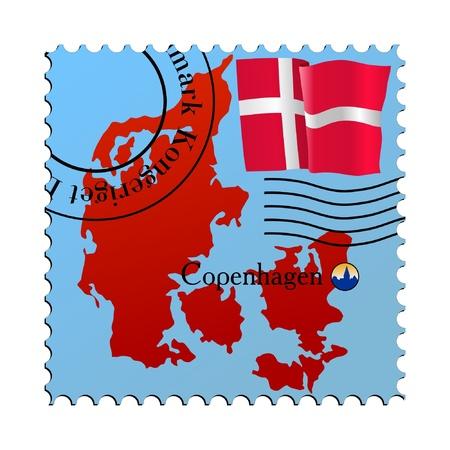 Copenhagen - capital of Denmark. Vector stamp Illustration