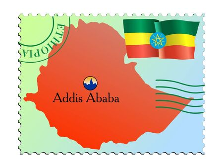 ababa: Addis Ababa - capital of Ethiopia. Vector stamp Illustration