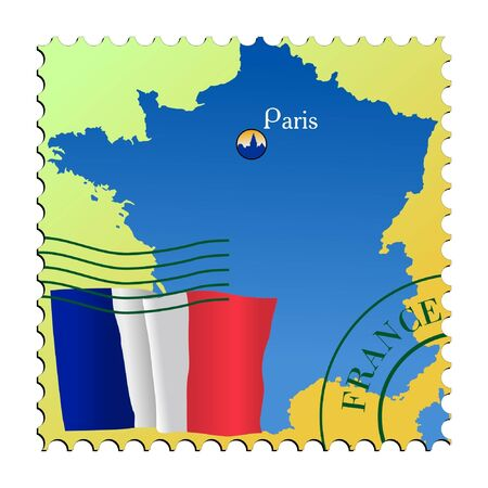 mailer: Paris - capital of France. Vector stamp
