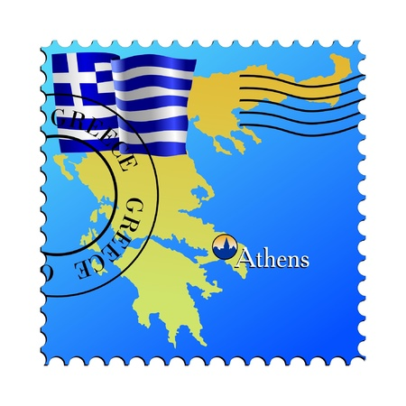 greece stamp: Athens - capital of Greece. Vector stamp Illustration