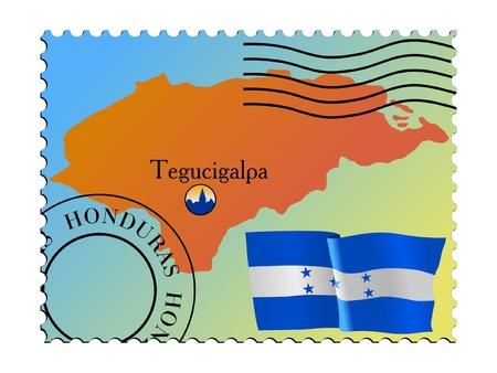 Tegucigalpa - capital of Honduras. Vector stamp Vector