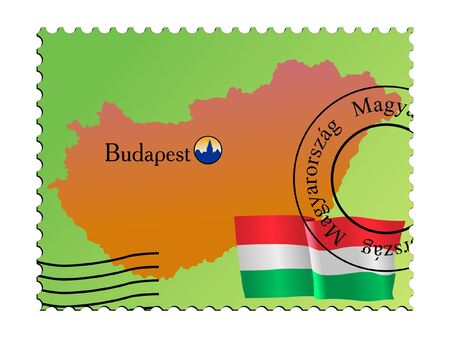 mailer: Budapest - capital of Hungary. Vector stamp