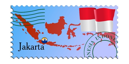 mailer: Jakarta - capital of Indonesia. Vector stamp
