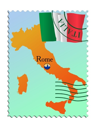mailer: Rome - capital of Italy. Vector stamp Illustration