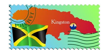 kingston: Kingston - capital of Jamaica. Vector stamp