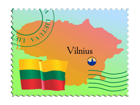 Vilnius - capital of Lithuania. Vector stamp Vector