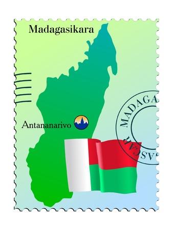 Antananarivo - capital of Madagascar. Vector stamp Иллюстрация