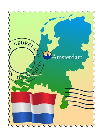 Amsterdam - capital of Netherlands. Vector stamp Vector