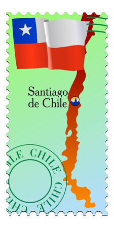 santiago: Santiago - capital of Chile. Vector stamp