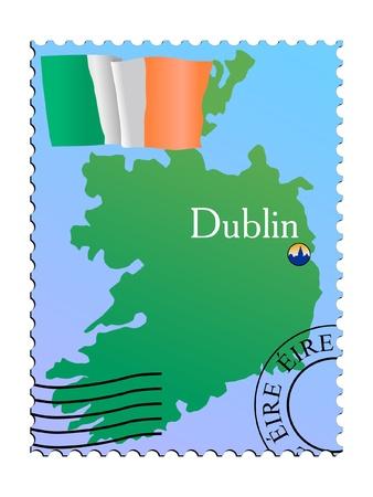 dublin: Dublin - capital of Ireland. Vector stamp