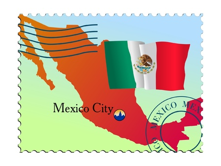 mailer: Mexico city - capital of Mexico. Vector stamp