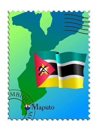 mozambique: Maputo - capital of Mozambique. Vector stamp