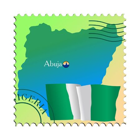 mailer: Abuja - capital of Nigeria. Vector stamp