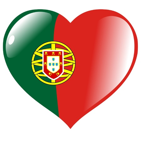 portugal flag: Portugal in heart Illustration