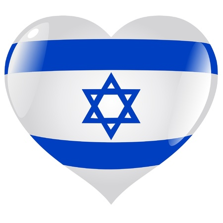 israel flag: Israel in heart Illustration