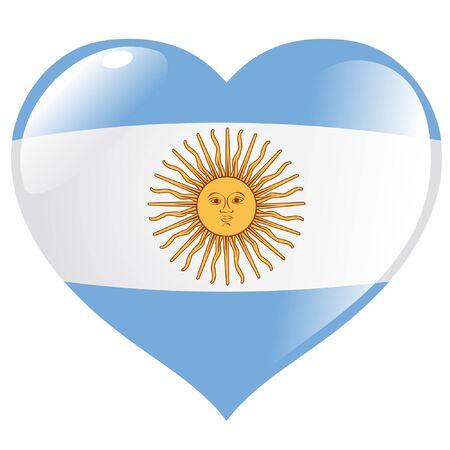 argentina flag: Argentina in heart Illustration
