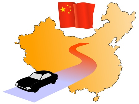 waiving: roads of China Illustration