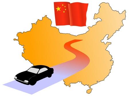 hayride: roads of China Illustration