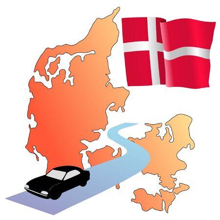 waiving: roads of Denmark Illustration