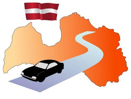 latvia: roads of Latvia Illustration