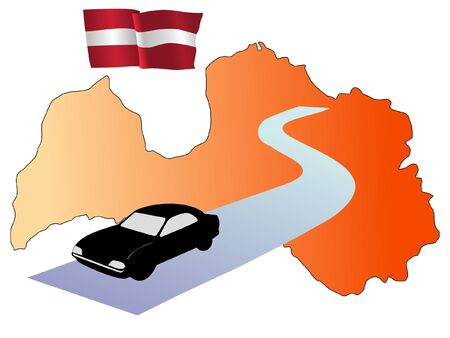 waiving: roads of Latvia Illustration